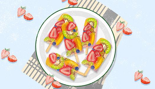 夏日草莓冰棍图片