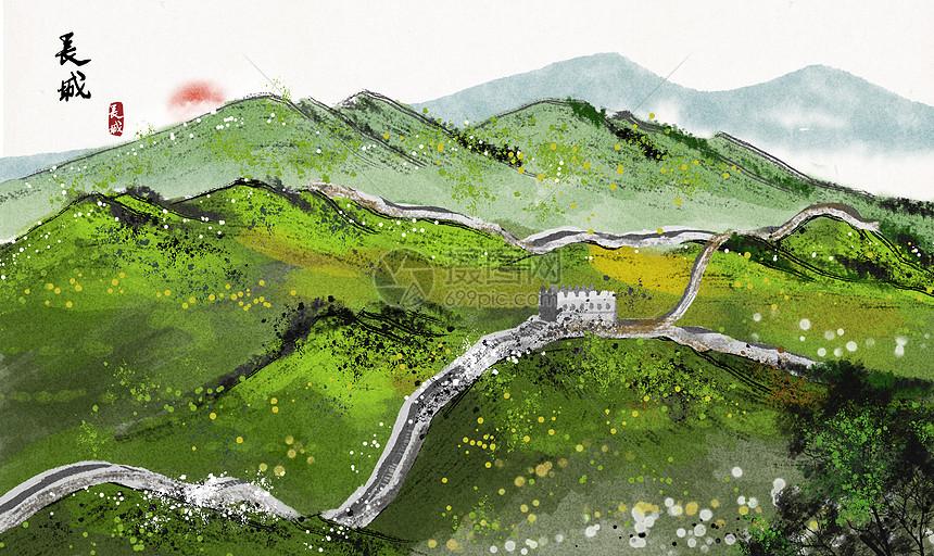 长城水墨画图片