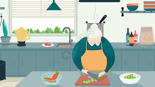 手绘厨房中的老奶奶图片