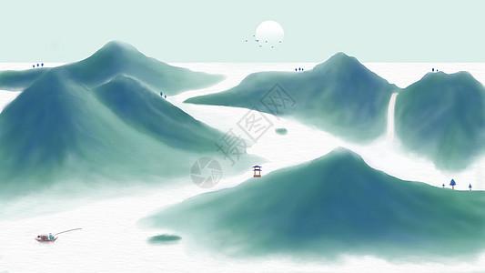 青山水墨中国风图片