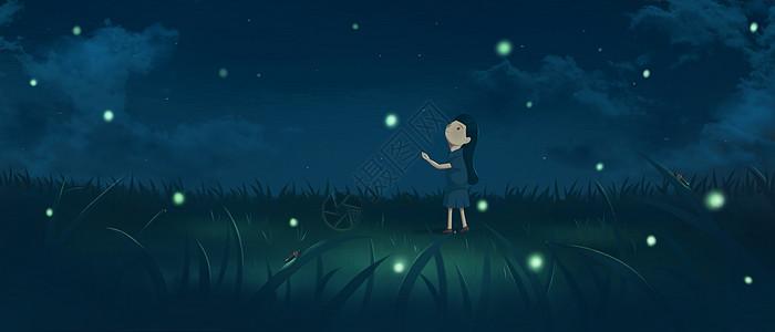 夏夜萤火虫图片