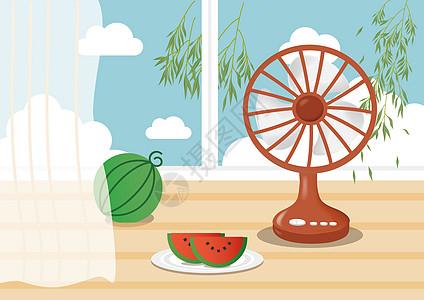 西瓜风扇处暑背景图片