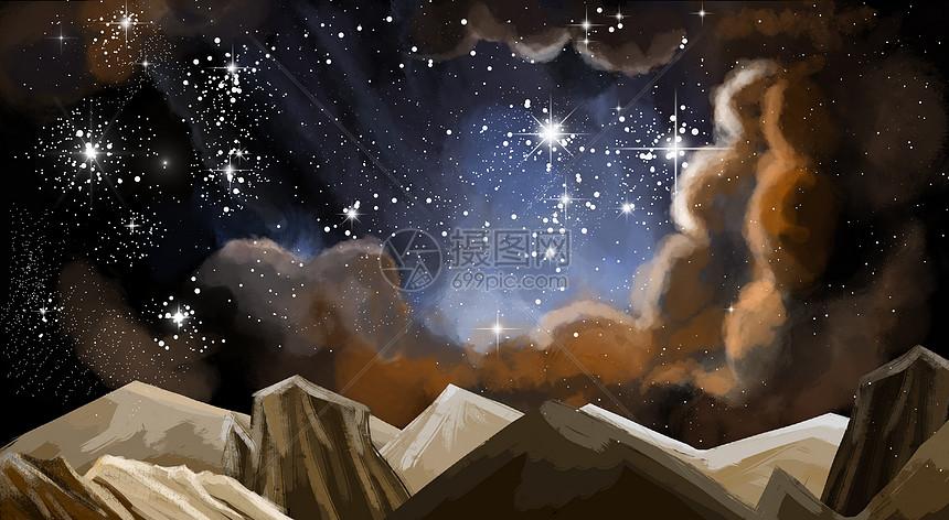 星空主题插画场景图片