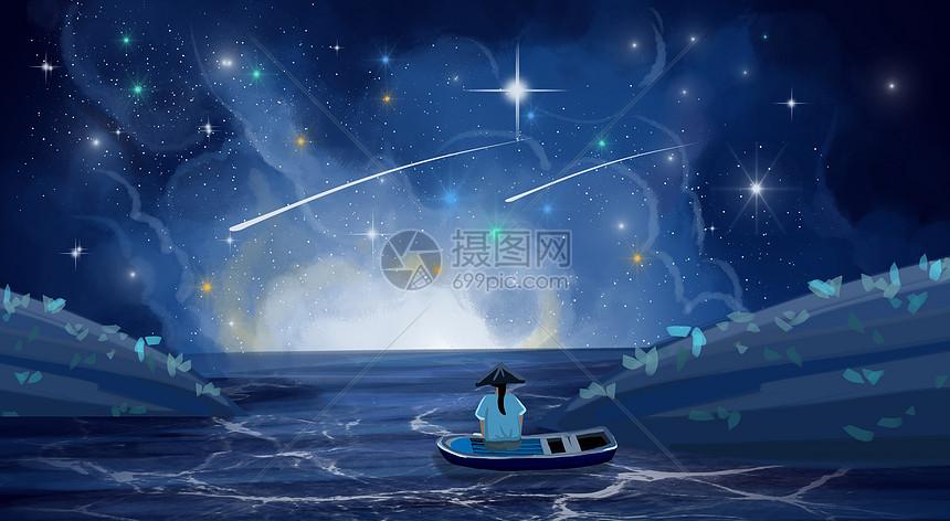 星空下坐在船上的人图片