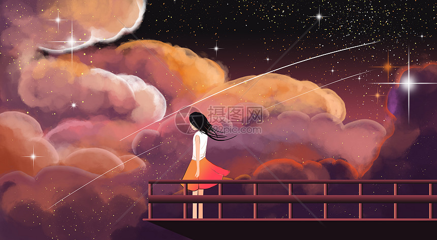 星空下女孩儿图片