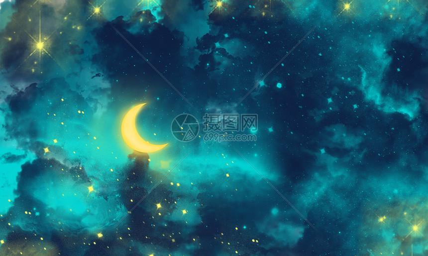 深蓝色唯美星空背景图片