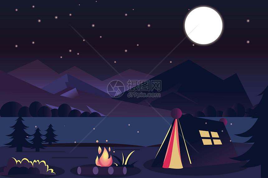 夜晚野营图片
