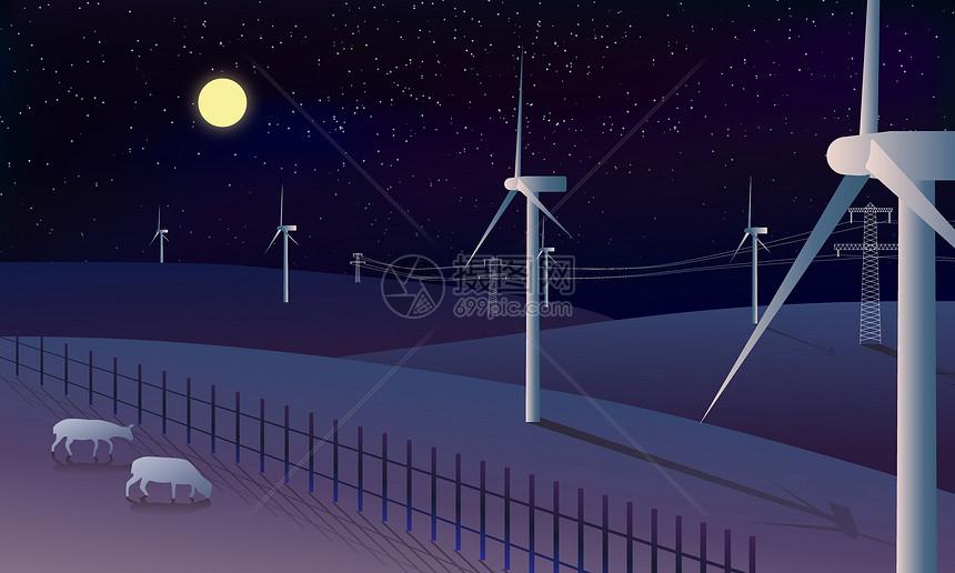 草原上的风车图片