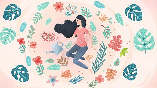 清新少女与植物图片