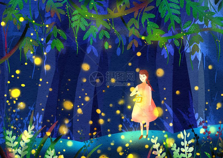 萤火虫树林图片