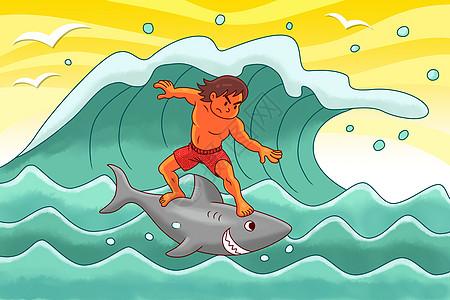 在大海上脚踩鲨鱼冲浪的男孩图片