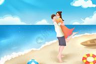 情侣海边度假图片