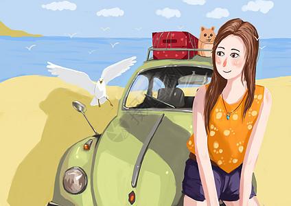 旅行的女孩图片