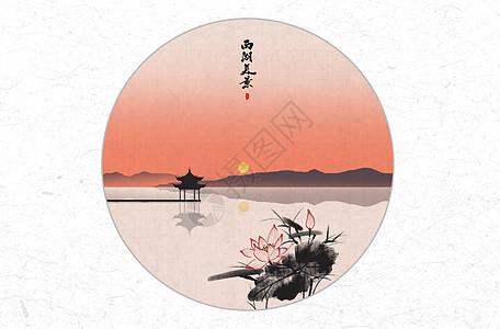 西湖美景中国风水墨画图片