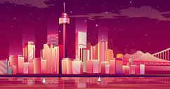 多彩城市立体插画图片