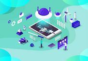 未来科技办公立体插画图片