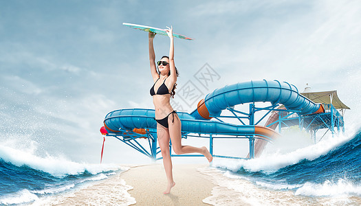 创意夏日冲浪图片