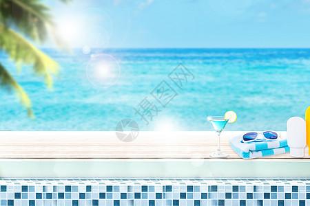创意夏日海边风景图片