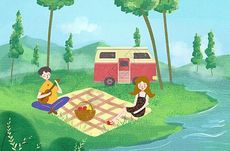 情侣旅行插画图片
