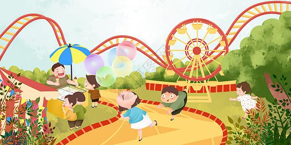 暑假儿童欢乐游乐园图片