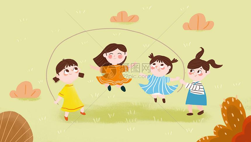 儿童跳绳插画图片
