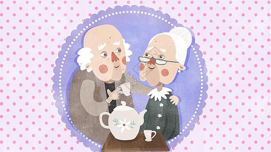 温馨老年人生活插画图片