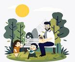 公园里的爸爸和孩子们图片