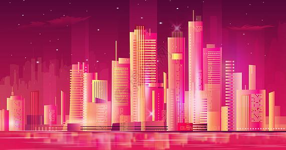 多彩的城市立体插画图片