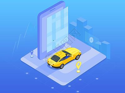 2.5D科技感汽车和手机图片