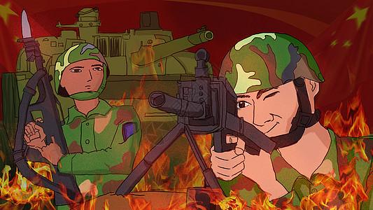 八一建军节热血军人插画图片