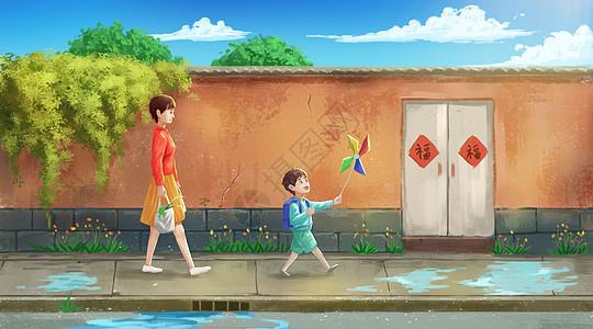 走在放学回家路上的母子图片