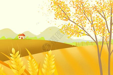 黄色系秋天金黄的麦田手绘插画背景图片