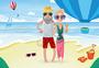 老年人海滩度假插画图片