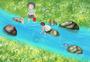 溪边抓鱼图片