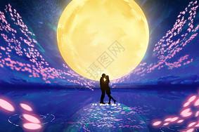 月下情侣图片