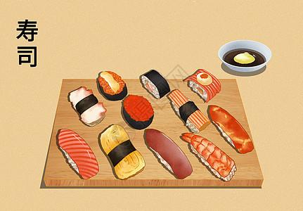 日式小食各样寿司小吃拼盘图片