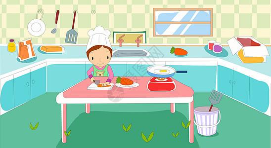 厨房里做菜的小女孩图片