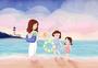 黄昏海边沙滩夏令营亲子活动暑假插画图片