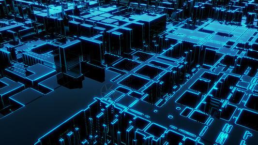 科幻几何芯片空间图片