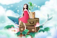 唯美旅行插画图片
