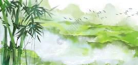 水墨竹子山水背景图片