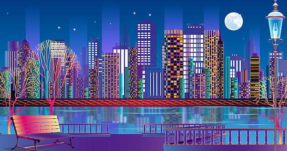 绚丽的立体城市插画图片