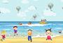 夏日海边玩耍小朋友们图片