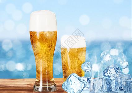 清爽啤酒背景图片