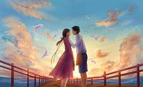 情人节浪漫约会手绘图片