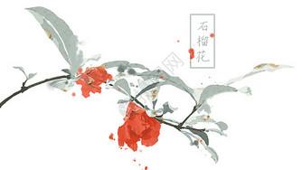 中国风手绘石榴花插画图片