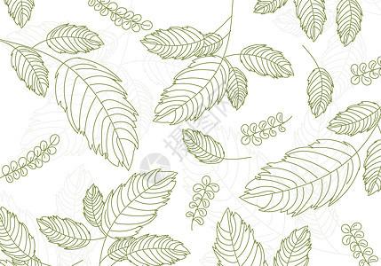 手绘树叶背景素材图片