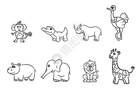 卡通简笔画动物图片