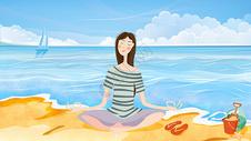 夏日海滩打坐少女清新插画图片