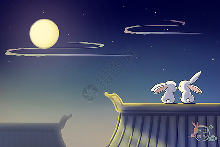 中秋月下玉兔团圆插画图片